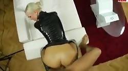 Blonde latex amateur fucked