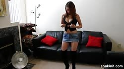 Short jean skirt babe stripping naked and dancing