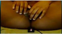 Busty black teen plays on Skype