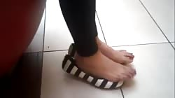 Beautiful feet in and out of flats.