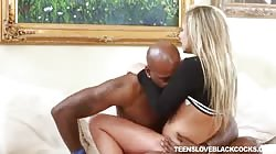 Bleached teen fucks with giant black pipe in her favorite poses