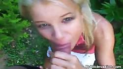 Skinny blonde whore fucks for money outdoors
