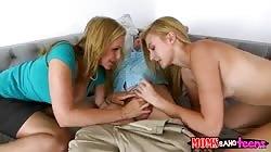 Mum and daughter jerking hard dick in Moms Bang Teens video