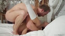 Slender young brunette fucks in the bedroom scene by Teen Fidelity