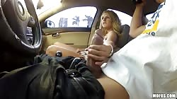 Sperm-loving blonde sucking huge dick of a horny driver
