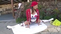An impressive flexible schoolgirl is demonstrating her big booty