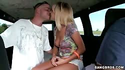 Driver caught a nice blonde milf to fuck in Bangbus