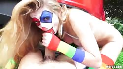 Sweet POV sex with blonde clown and big-dicked male
