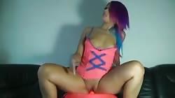 purple haired hottie