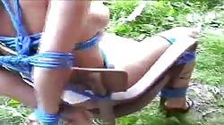 Naked boobs girl, in bondage