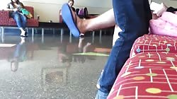 Candid Teen Feet and Legs at College Library