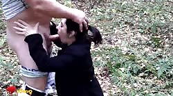 Amateur girlfriend is giving a juicy blowjob right in the woods