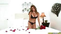 Glamour milf preparing bedroom for intensive banging