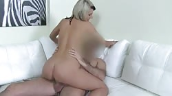 Blond MILF blowing dick with fully closed eyes specially for Fake Agent