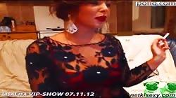 Elegant glamorous girl is demonstrating her natural tits