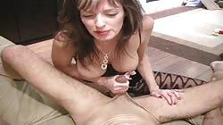 Lustful brunette Shanda Fay is swallowing a hard boner
