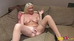 Blonde is pleasing herself in the bedroom for Fake Agent UK