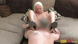 Skillful blonde milf is sucking interviewer's dick in bedroom