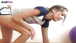 Awesome workout action starring a flexy beauty Andi Pink