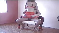 Russian stripper is sucking a horny wiener of her client