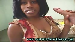 Innocent-looking black babe gives a good passionate blowjob