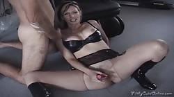 Very slutty blonde Shanda Fay enjoys her hard red dildo