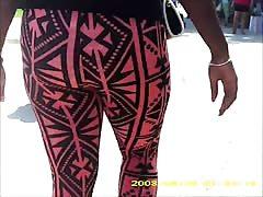 sexy black teen in see thru leggings stripe panty