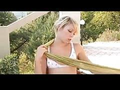 Flatchest Teen Enjoys Her Drink Outdoor