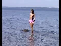 Nude Beach - Hot Skinny Brunette Teen Posing