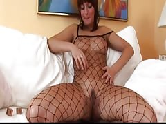 Lillike is naughty in her fishnet outfit