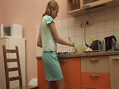 Cooking makes her horny, plays with wooden spoon and table