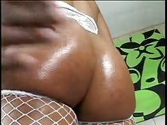 Black chick in fishnets shows off her fat round ass and pretty pussy then fucks