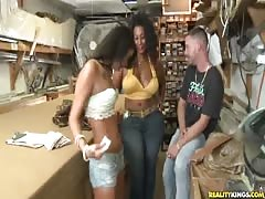 Two tanned babes are getting seduced and fucked by a horny guy