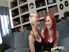 Redhead and blonde want to please his horny wiener so much