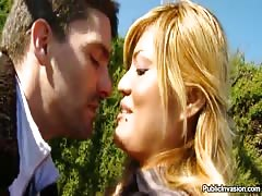 Tender kissing outdoors gets dirty and grows into a hot public sex