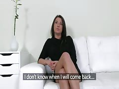 Dick-addicted bitch is trying to impress an awesome interviewer