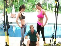 Astonishing sporty sluts undressing their waiter!