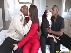 Two sluts in tight cloth being fucked by horny black guys