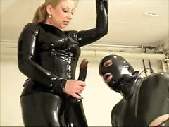 Awesome amateur BDSM with lathered boy gets strapon in his hole