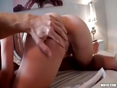Blowjob by a gorgeous brunette with skinny tight ass
