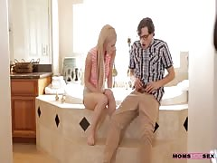 Slender blonde is sucking dick of her nerdy boyfriend!