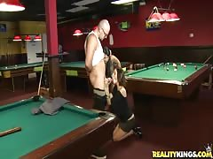 She is blowing his dick after getting money in the pool club
