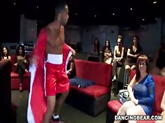 Stripper undressing and banging slender girls in the club