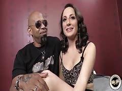 Black fucker fucks a hot slut wife in front her roped husband
