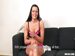 Sexy brunette in pink lingerie wants try starring in sex casting