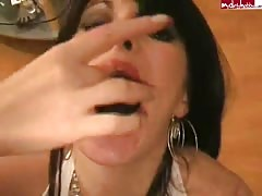 wild brunette with pierced tongue is giving the greatest  deep throat