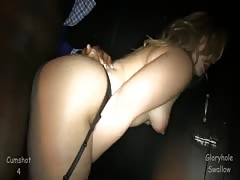 Blonde drinks cum out of a condom in the video by the Gloryhole Swallow