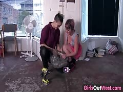 Girls Out West - Lesbian hairy cunt eaten out