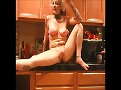 Young Guy With Tat Milf in Kitchen