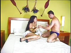 Hot little Latina strips and exposes her perky tits and tight ass